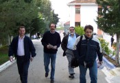 2010/11/03: Οι υποψήφιοι Απ. Παπαποστόλου και Γρ. Ευαγγελάτος με τους Β. Χατζηλάμπρου και Γ. Λύχρο στο Νοσημάτων Θώρακος.