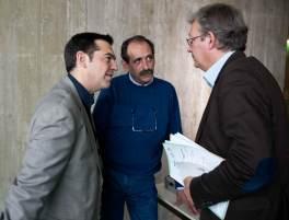 2012/10/27: Αλ. Τσιπρας και Β. Χατζηλαμπρου με τον γ.γ. του ΚΚ Γαλλιας Pierre Laurent στη συνδιασκεψη «Για μια εναλλακτικη διακυβέρνηση»