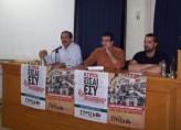 2012/11/15: Από την εκδηλωση των νεων του ΣΥΡΙΖΑ-ΕΚΜ στην Πατρα. Απο αριστερα: Β. Χατζηλαμπρου, Δ. Μπαλωμενακης, Γ. Σακελλαριδης