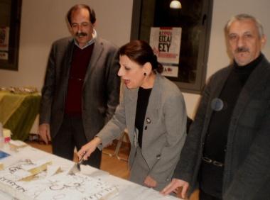 2013/02/01: Στιγμιοτυπο απο την κοπη πιτας του ΣΥΡΙΖΑ-ΕΚΜ στην Πατρα