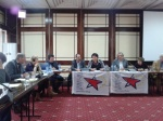 2013/04/22:  Β. Χατζηλαμπρου,  Μαργαριτα Μιλεβα (Βουλγαρικη Αριστερα), Πιερ Λοραν (Κ.Κ. Γαλλιας), Μαϊτε Μολα (Κ.Κ. Ισπανιας) στη συνεντευξη Τυπου του ΚΕΑ στη Βουλγαρια