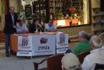 2013/06/16: Απο την εκδηλωση του ΣΥΡΙΖΑ-ΕΚΜ στα Καλαβρυτα. Απο αριστερα: Β. Χατζηλαμπρου, Ηλ. Κακκαβας, Ζ. Κωνσταντοπουλου, Λ. Βασιλοπουλος