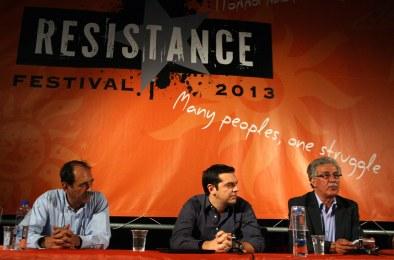 "2013/06/21: Resistance festival - εκδηλωση ""Ελπιδα διεξοδου: μια νεα μεσογειακη ανοιξη των λαων"". Απο αριστερα: Β. Χατζηλαμπρου, Αλ. Τσιπρας, Χ. Χαμαμι (EUROKINISSI/ΤΑΤΙΑΝΑ ΜΠΟΛΑΡΗ)"