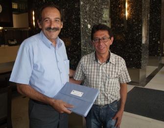 2013/09/07: Ο Β. Χατζηλαμπρου με τον υπουργο Πολιτισμων της Βολιβιας Pablo Cesar Groux Canedo στη Θεσσαλονικη
