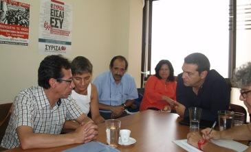 2013/09/07: Απο τη συναντηση του κλιμακιου του ΣΥΡΙΖΑ, με επικεφαλης τον Αλ. Τσιπρα, με τον υπουργο Πολιτισμων της Βολιβιας Pablo Cesar Groux Canedo (πρωτος απο αριστερα)