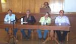 2013/11/01: Απο την εκδηλωση των διοικητικων υπαλληλων του Πανεπιστημιου Πατρων. Απο αριστερα: Β. Χατζηλαμπρου, ο καθηγητης Κ. Συριοπουλος, ο συντονιστης της εκδηλωσης και ο Δ. Καζακης