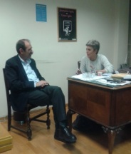 2014/02/12: Συζητωντας για τις επικειμενες εκλογες με την υποψηφια περιφερειαρχη Β. Αιγαιου και μαχιμη δημοσιογραφο της ΕΡΤ Αγλαϊα Κυριτση