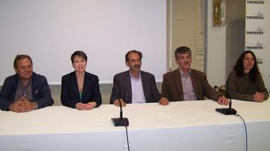 2014/04/10: Απο αριστερα: Γρ. Καρανικολας, Κ. Αυδη, Β. Χατζηλαμπρου, Κ. Κουστας, Αν. Δημητριου στη συνεντευξη Τυπου στο Μεσολογγι