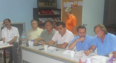 2014/07/21: Απο τη συσκεψη με θεμα το ποδοσφαιρο που οργανωσε η Επιτροπη Αθλητισμου Αχαϊας, παρουσια του υπευθυνου του ΣΥΡΙΖΑ Ν. Μαλλιαρη (πρωτος απο δεξια)