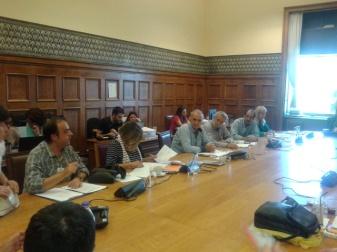 2014/10/21: Στιγμιοτυπο απο τη συναντηση της ΕΚΚΕ Αμυνας του ΣΥΡΙΖΑ με τους απληρωτους εργαζομενους της Ηλεκτρομηχανικης Κυμης