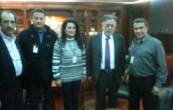 2015/02/09: Απο τη συναντηση Β. Χατζηλαμπρου και εκπροσωπων της Πυροσβεστικης με τον υπουργο Γ. Πανουση