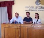 2012/10/19: Συνέντευξη Τύπου των βουλευτών του ΣΥΡΙΖΑ-ΕΚΜ στην Πάτρα. Από αριστερά: Β. Χατζηλάμπρου, Π. Μιχαλόπουλος, Μ. Κανελλοπούλου.